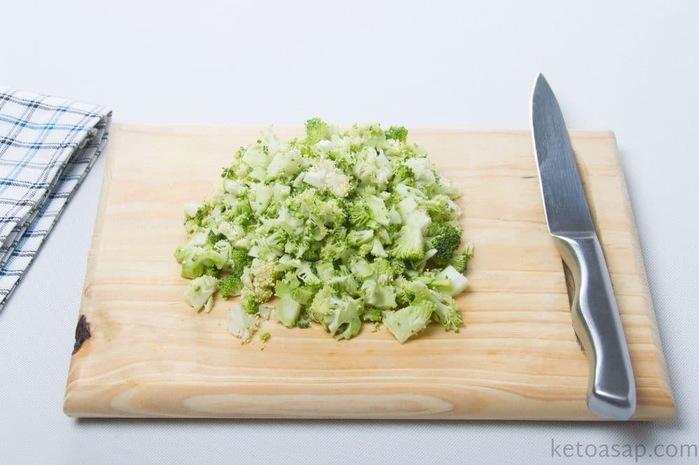 Chop broccoli into small pieces