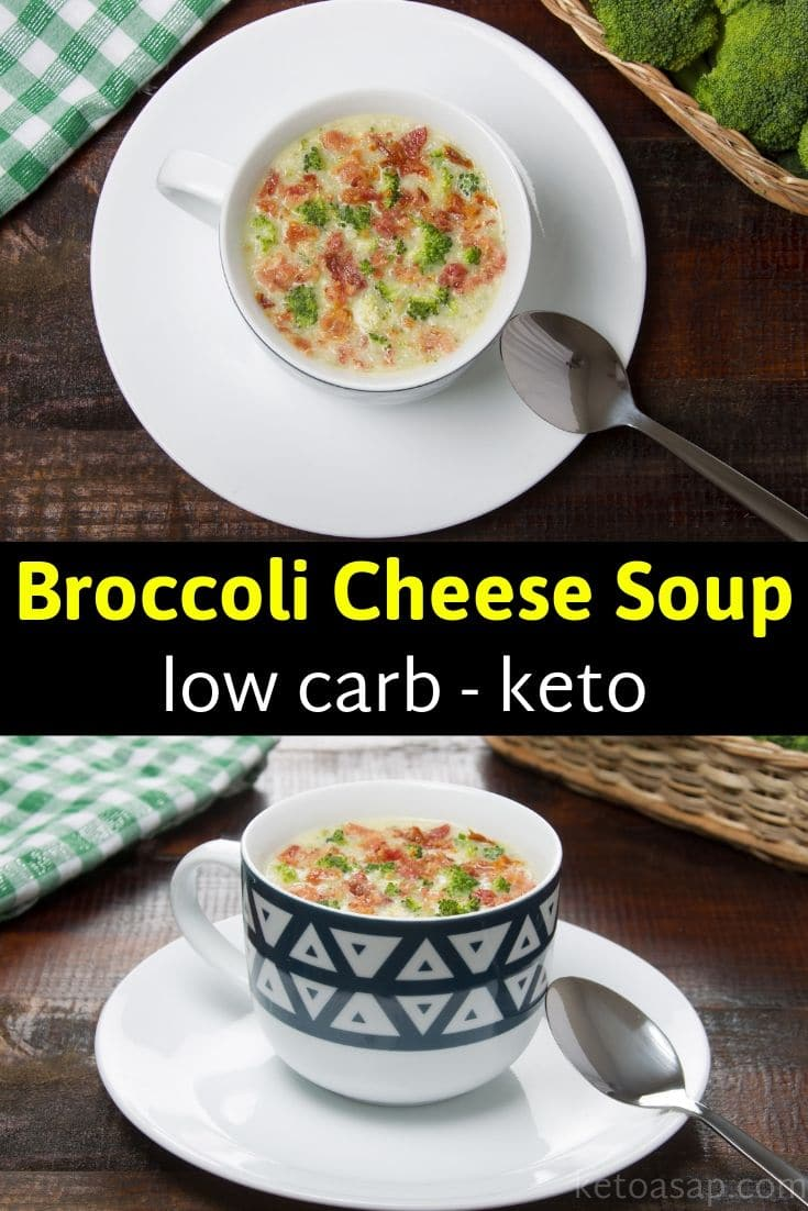 Easy healthy keto broccoli cheese soup low carb recipe #broccolicheesesoup #ketosoup