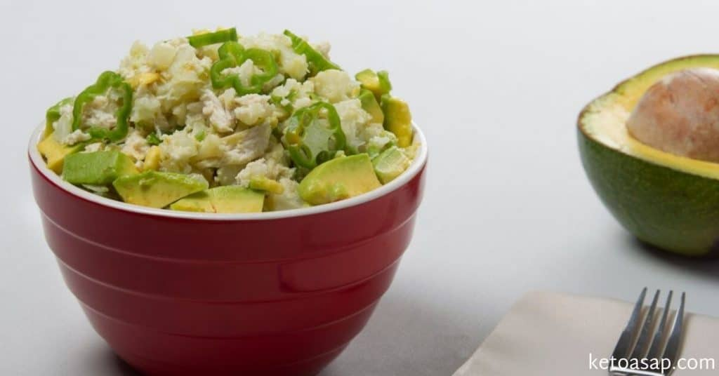 avocado chicken enchilada bowl
