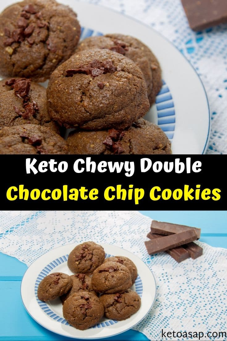 Try our chewy and tasty keto double chocolate chip cookies low-carb and sugar free recipe! #chocolatechipcookies #ketocookies #sugarfreecookies