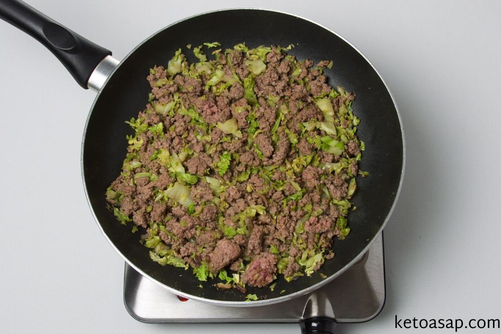 add beef to cabbage and cheese