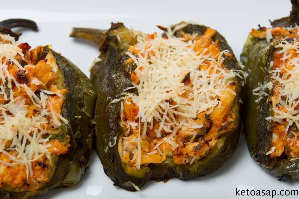 bake pepper with chicken cheese mix