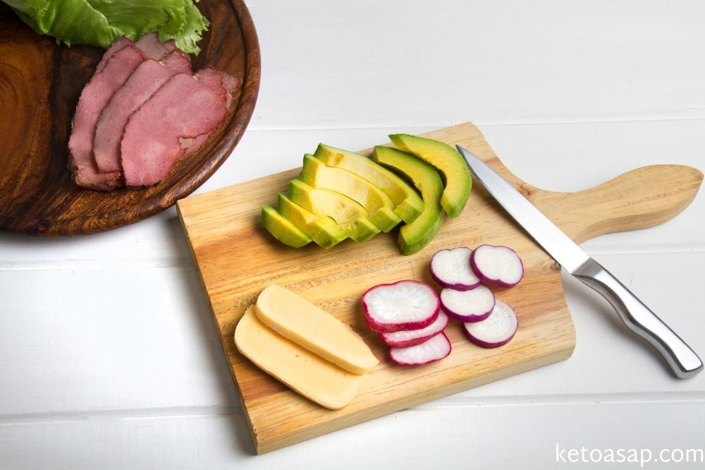 cut avocado and radish