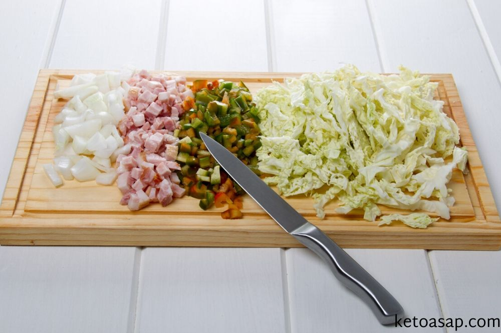 cut ingredients fried cabbage recipe