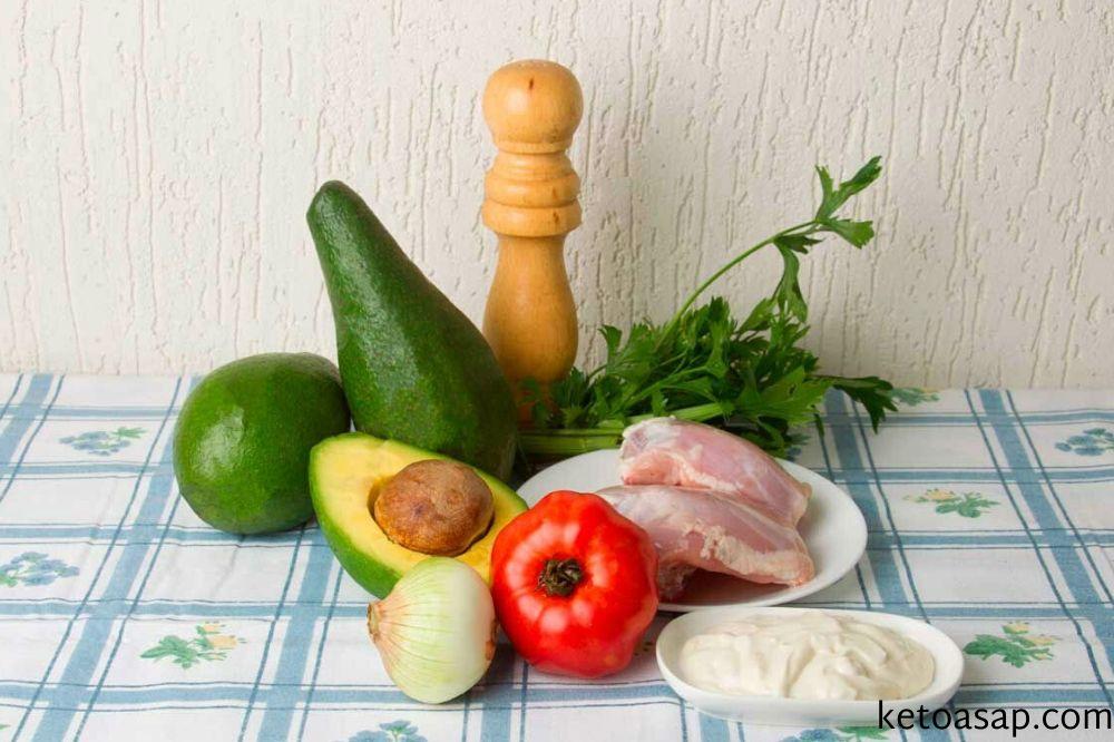 ingredients chicken salad stuffed avocados