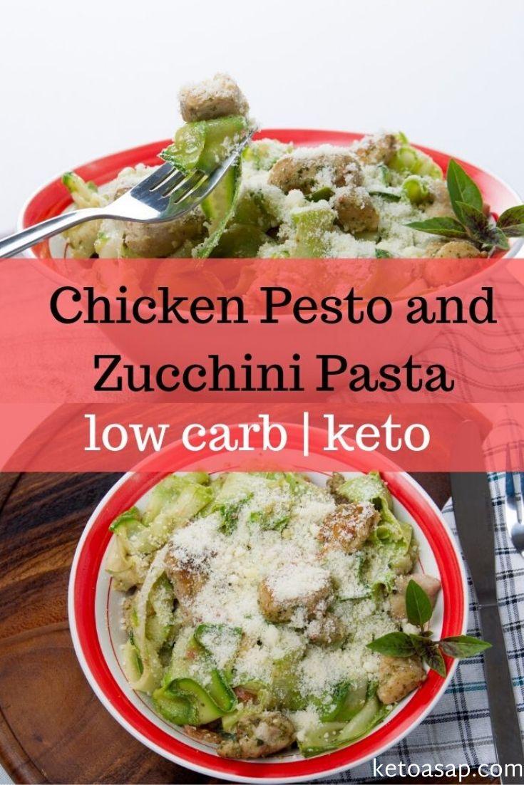 keto chicken pesto and zucchini pasta