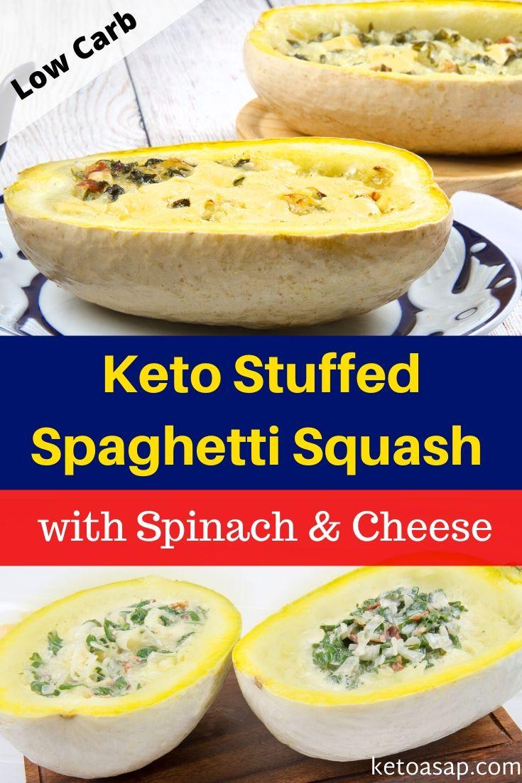 keto spinach stuffed spaghetti squash