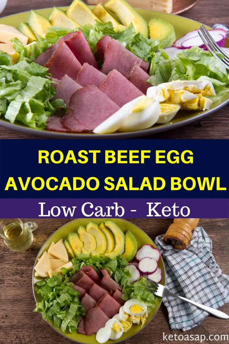 roast beef egg avocado keto salad