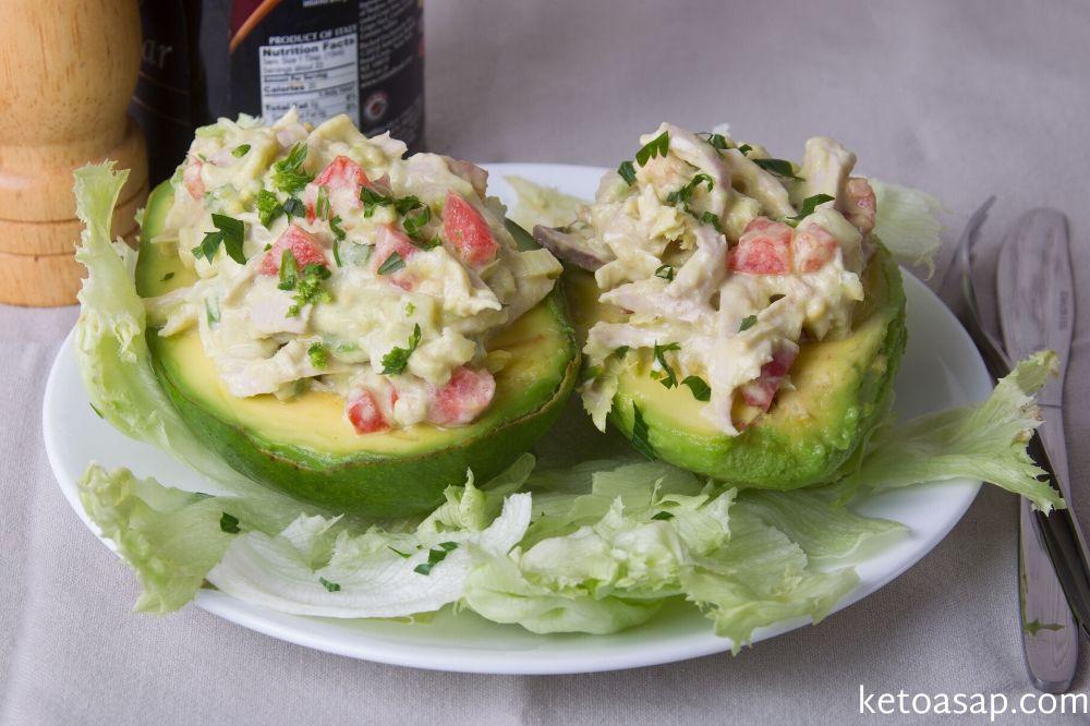 serve chicken salad stuffed avocados
