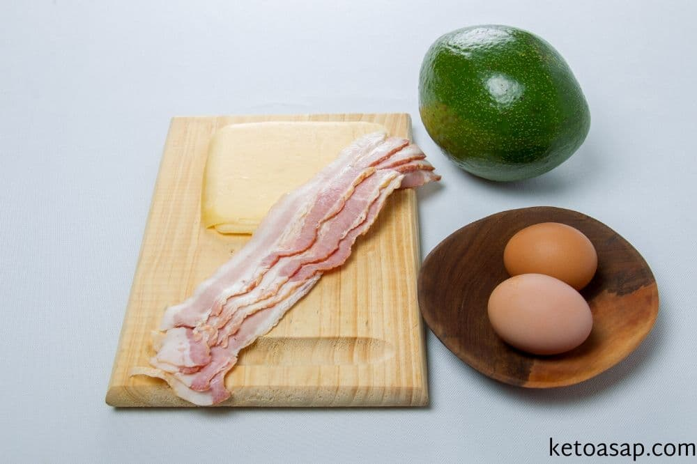 wash the avocado prepare egg bacon and cheese