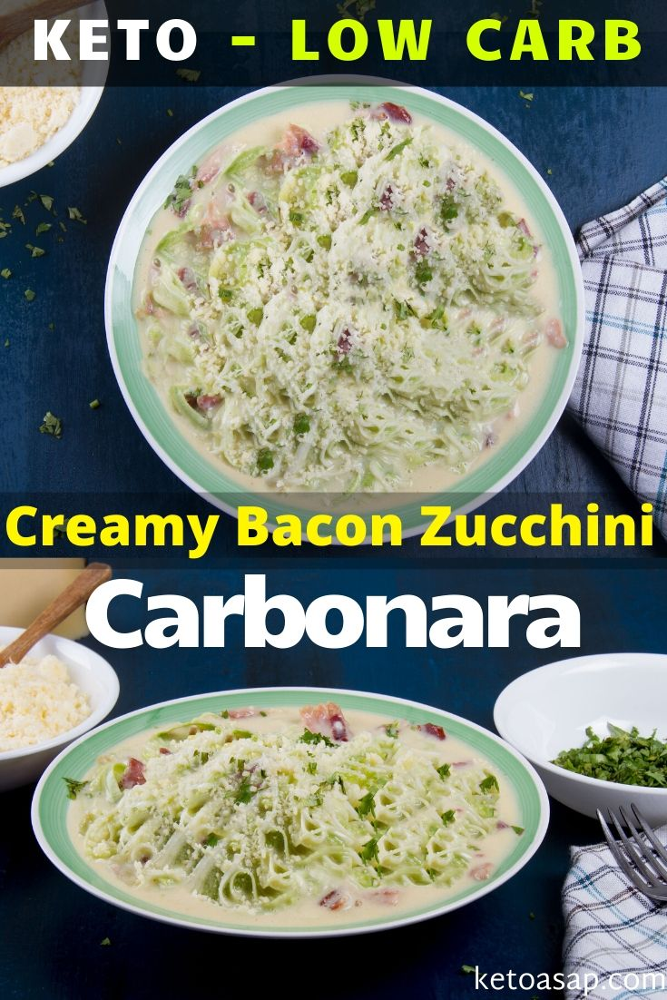 You won't miss the starchy pasta with this mind-blowing Italian style recipe, it is keto, low in carb and cooked in less than 20 minutes. Here's how. #ketocarbonara #ketozoodlescarbonara #lowcarbcarbonara #ketodinner #ketozuccinirecipe #ketopastarecipe