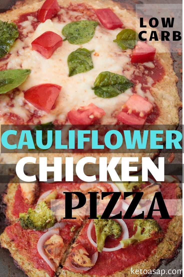 Is it pizza night? Prepare a low carb cauliflower crust and get the same fulfilling taste while maintaining your keto diet. Here's how. #ketopizza #ketocauliflowerpizza #ketochickenpizza #lowcarbpizza #ketodinner #easyketodinner