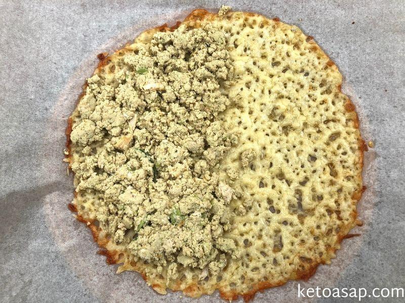 add chicken fillings inside quesadilla