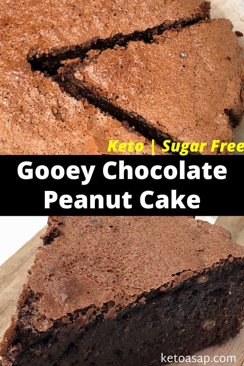 Keto Gooey Peanut Chocolate Cake Low Carb Sugar Free Recipe