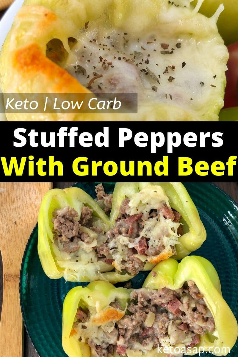 Keto Cheesy Stuffed Bell Peppers with Ground Beef and Sausage