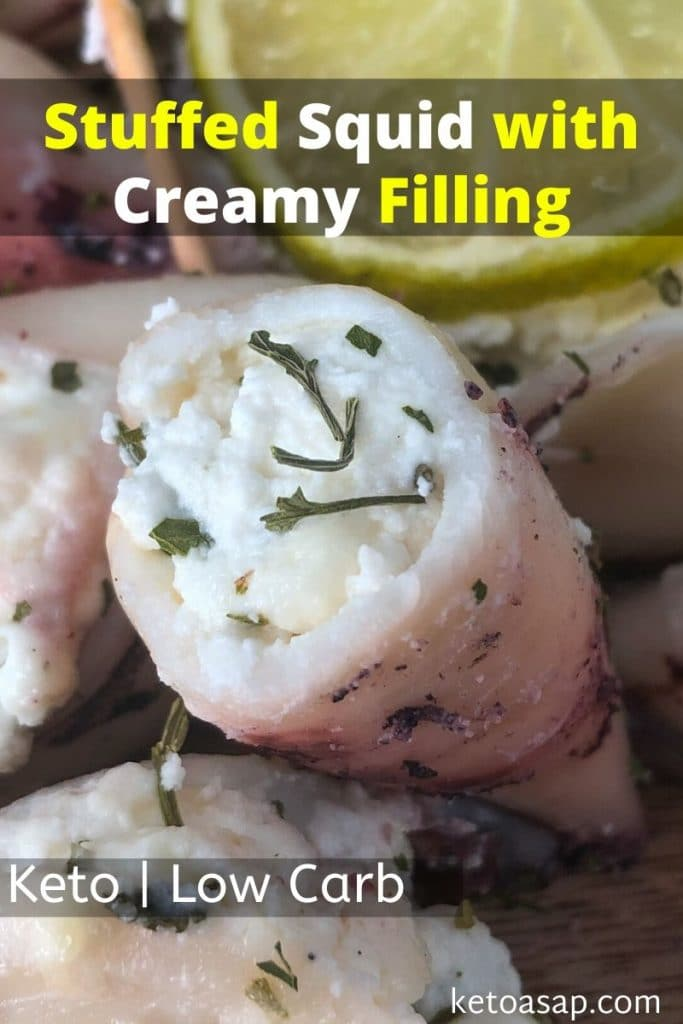 keto stuffed squid with creamy filling