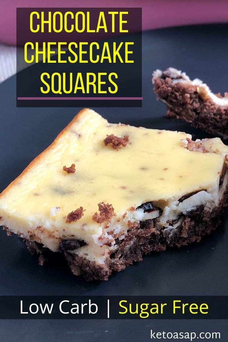 Keto Chocolate Cheesecake Bars - Low Carb Sugar Free Recipe