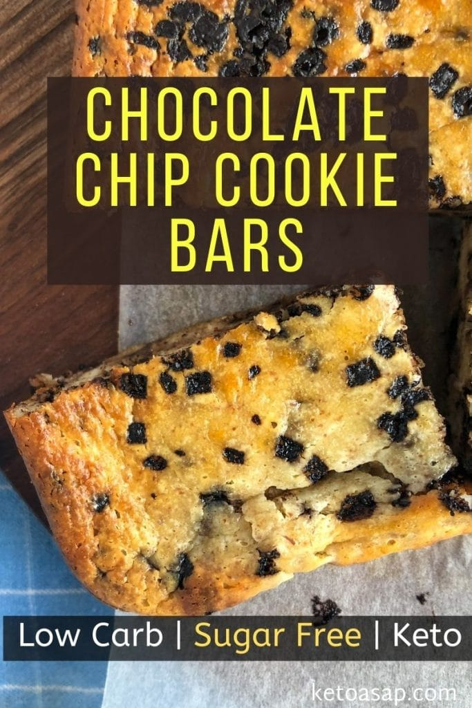Chocolate Chip Cookie Bars (Low Carb, Keto and Sugar-Free)