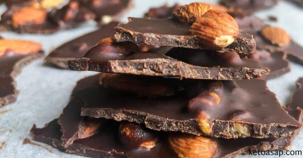 dark chocolate bark with almonds and walnuts