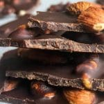 dark chocolate bark with almonds and walnuts