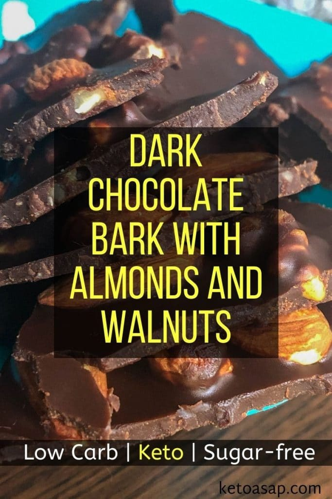 keto dark chocolate bark with almonds and walnuts