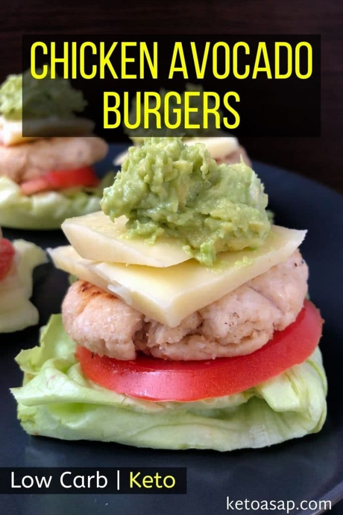 low carb chicken avocado burgers