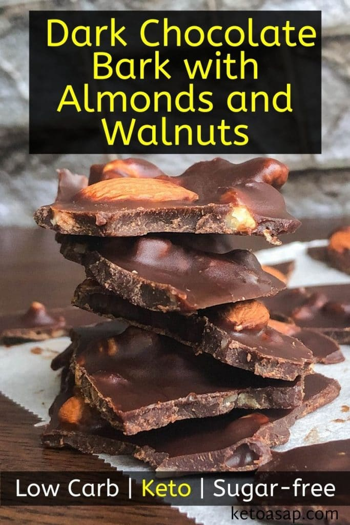 low carb dark chocolate bark with almonds and walnuts